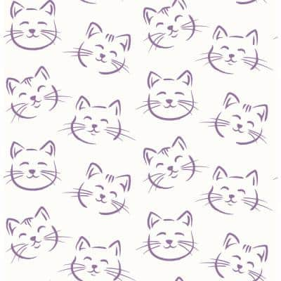 Purr Purple Cat Strippable Roll (Covers 56.4 sq. ft.)