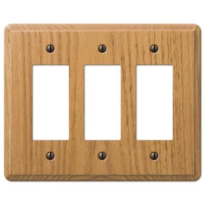 Contemporary 3 Gang Rocker Wood Wall Plate - Light Oak