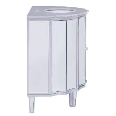 Femmter 33 in. W x 22 in. D Bath Vanity in Silver Mirrored Finish with Marble Top in Gray with White Basin