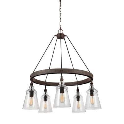 Loras 5-Light Dark Weathered Iron Industrial Transitional Wagon Wheel Hanging Chandelier with Clear Seeded Glass Shades