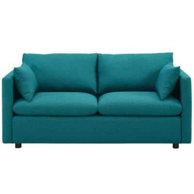 Activate 70 in. Teal Polyester 3-Seater Tuxedo Sofa with Square Arms
