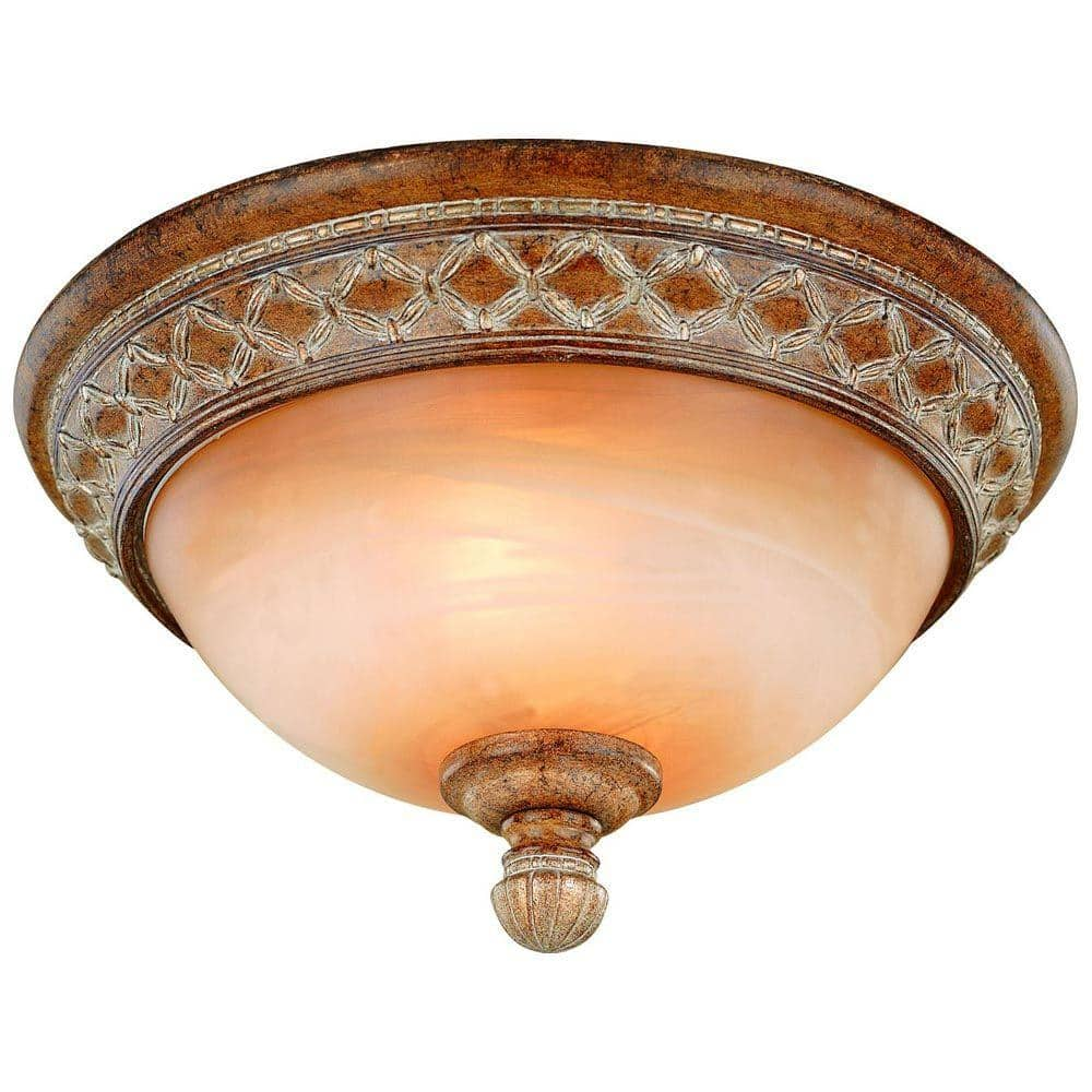 Hampton Bay Berlini 13 In 2 Light Tuscan Patina Flush Mount With Marble Glass Shade 18049 The Home Depot
