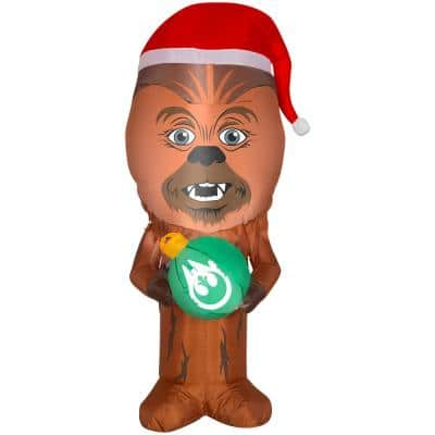 3.5 ft H. Inflatable Airblown-Stylized Chewbacca with Santa Hat-SM-Star Wars