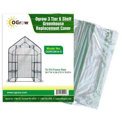 28.7 in. W x 56.2 in. D x 76.8 in. H 3-Tier 6 Shelf Greenhouse Replacement Cover