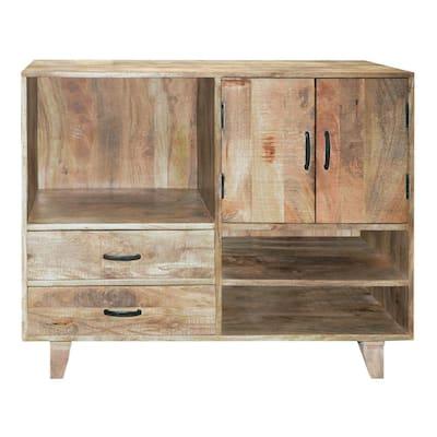 Farmhouse Style Brown Mango Wood Display Unit with 2-Drawer Storage