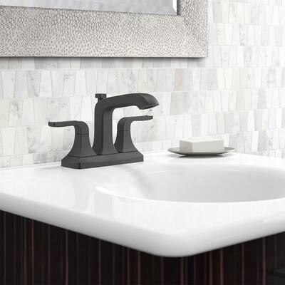 Rubicon 4 in. Centerset 2-Handle Bathroom Faucet in Matte Black