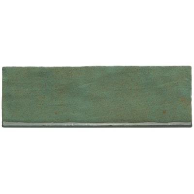 Kingston Green 3 in. x 8 in. Glazed Ceramic Bullnose Tile