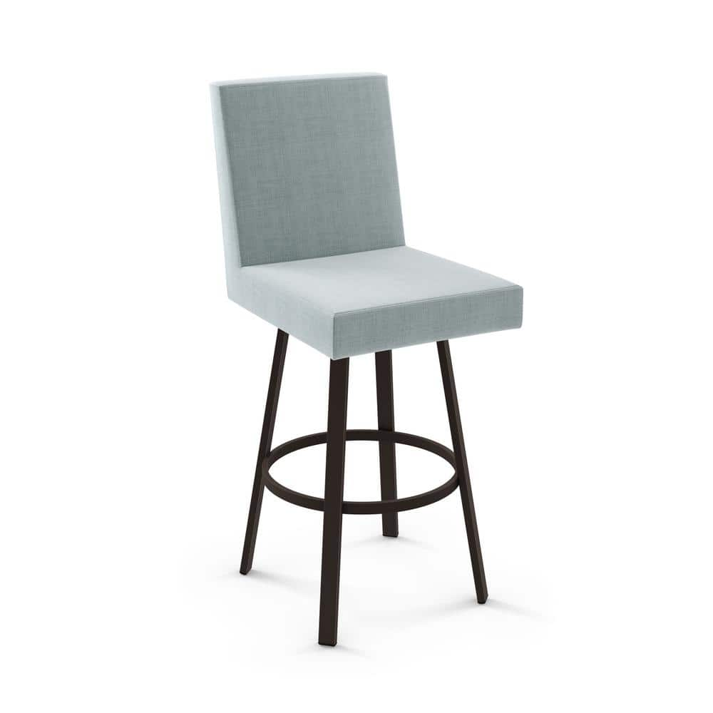 Amisco Hartman 26 In Light Blue Polyester Dark Brown Metal Swivel Counter Stool 44573 26 75bz The Home Depot