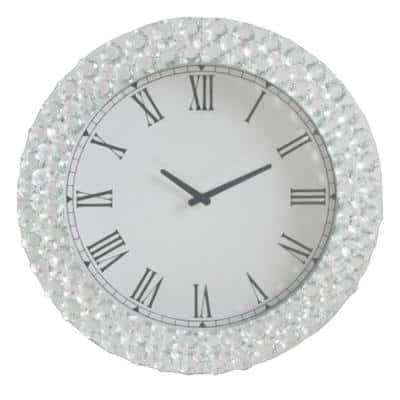 White and Clear Round Wall Clock with Mirror Trim and Faux Crystal Inlay