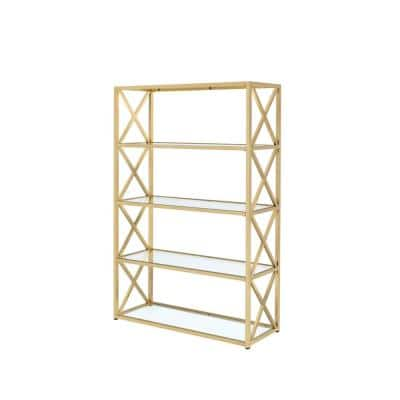 77 in. Gold Metal 5-shelf Etagere Bookcase with Open Back