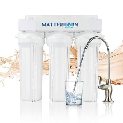 3-Stage Under the Counter System High Performance for Reducing Water-Soluble Heavy Metals, Chlorine, Chloramine
