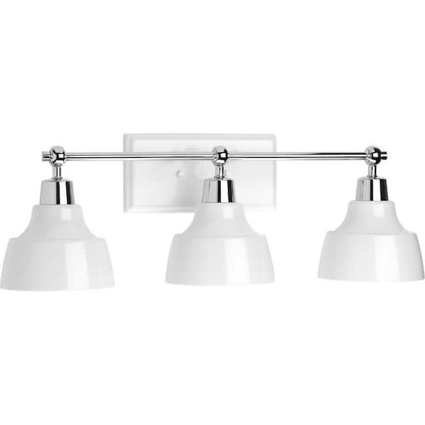Progress Lighting Bramlett Collection 3 Light Polished Chrome White Metal Shade Coastal Bath Vanity Light P300041 015 The Home Depot