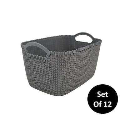 Medium 7 Qt. Decorative Storage Rattan Bin in Gray (12-Pack)