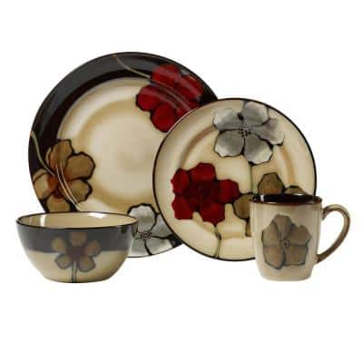 Painted Poppies 16-Piece Casual Assorted Stoneware Dinnerware Set (Set for 4)