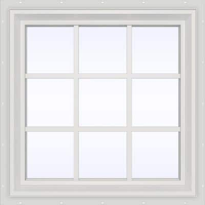 29.5 in. x 29.5 in. V-2500 Series White Vinyl Fixed Picture Window with Colonial Grids/Grilles