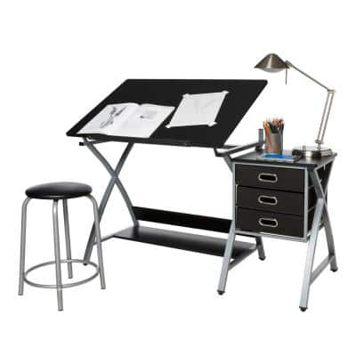 51 in. Rectangular Black/Silver 3 Drawer Writing Desk with Adjustable Height Feature