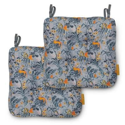 Vera Bradley 19 in. L x 19 in. W x 5 in. Thick, 2-Pack Patio Chair Cushions in Rain Forest Toile Gray/Gold