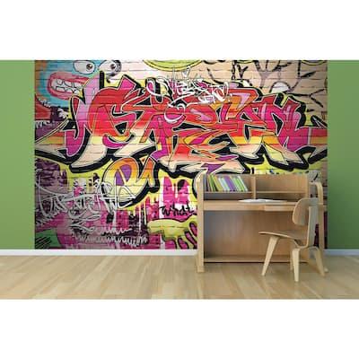 118 in. x 98 in. City Graffiti Wall Mural