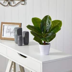 11 in. Artificial Rubber Leaf Plant in White Planter (Real Touch)