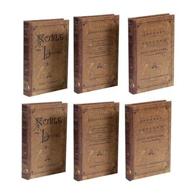 Classic Vintage 5.5 in. Brown Book Box (Set of 3)