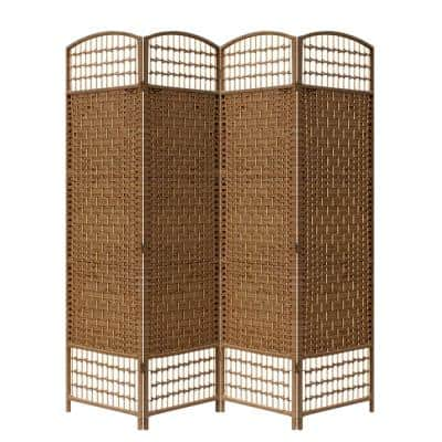 Brown Paper Straw Weave 4-Panel Screen On 2 in. Legs Handcrafted Room Divider