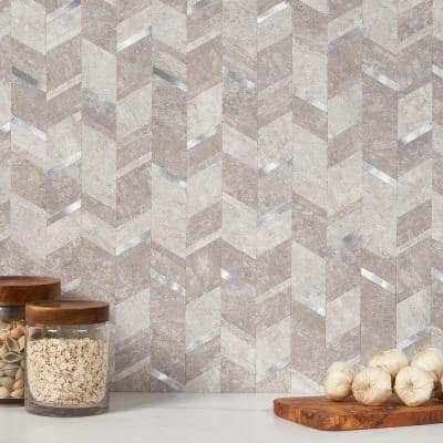 Luxe Core Chevron Silver 11.02 in. x 11.41 in. SPC Peel and Stick Tile (0.87 Sq. Ft. / Sheet)