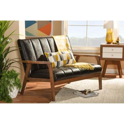 Nikko 44.7 in. Brown Faux Leather 2-Seater Loveseat with Wood Frame