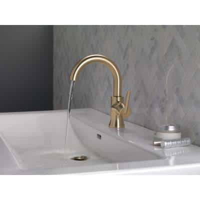 Trinsic Single Hole Single-Handle Bathroom Faucet with Metal Drain Assembly in Champagne Bronze