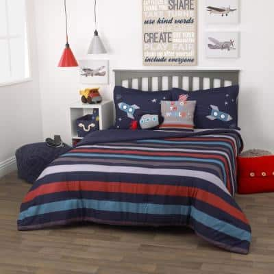 3-Piece Out of this World Navy and Orange Full Bedding Set - 1 Full Comforter, 2 Pillow Shams