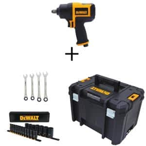 1/2 in. Drive SAE Deep Impact Socket Set (19-Pc) w/Bonus Ratcheting Wrenches, Tool Box & 1/2 in. Pneumatic Impact Wrench