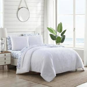 Textured Waffle 3-Piece White Solid Cotton Full/Queen Duvet Cover Set