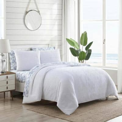 Textured Waffle 3-Piece White Solid Cotton King Duvet Cover Set