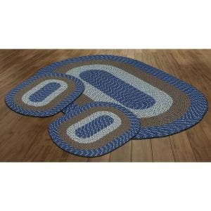 Country Braid Collection 3-Piece Chambray Stripe 100% Polypropylene Reversible Area Rug Set - (20''x30''/36''x60''/20''x30'')