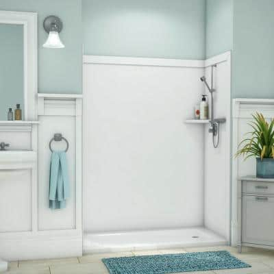 Royale 36 in. x 60 in. x 80 in. 11-Piece Easy Up Adhesive Alcove Bathtub/Shower Wall Surround in White