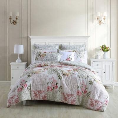 Ailyn 7-Piece Red Floral Cotton Full/Queen Comforter Bonus Set