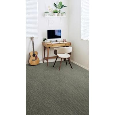Striation - Color Gray Furrow Residential 9 in. x 36 in. Peel and Stick Carpet Tile (16 Tiles / Case)