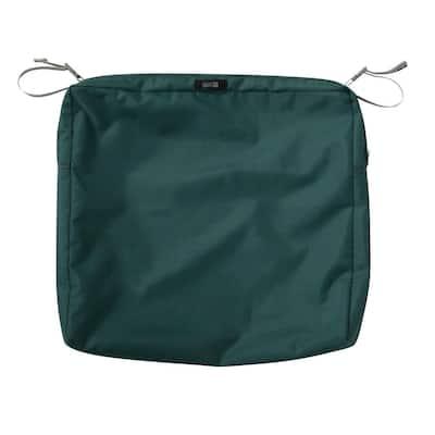 Ravenna 21 in. W x 19 in. D x 3 in. H Rectangular Patio Seat Cushion Slip Cover in Mallard Green