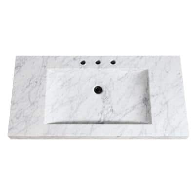 43 in. W x 22 in. D x 3 in. H Stone Integrated Vanity Top in Carrera White