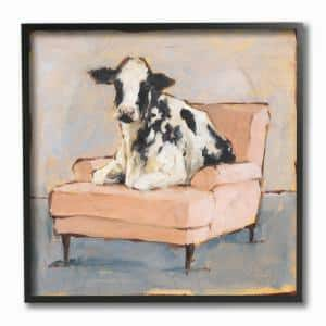 12 in. x 12 in. ''Sweet Baby Calf on a Pink Couch Neutral Color Painting'' by Ethan Harper Framed Wall Art