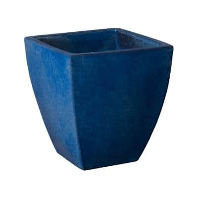17 in. H Square Blue Ceramic Planter