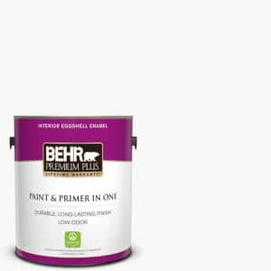 Behr Premium Plus 1 Gal Ultra Pure White Eggshell Enamel Low Odor Interior Paint And Primer In One 205001 The Home Depot