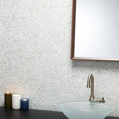 Fusion Hex Green Terrazzo 9.13 in. x 10.51 in. Matte Porcelain Floor and Wall Tile (8.07 sq.ft. / Case)