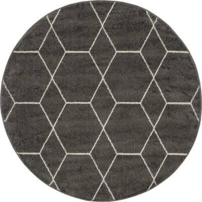 Trellis Frieze Dark Gray/Ivory 4 ft. x 4 ft. Round Geometric Area Rug