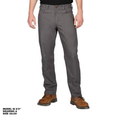Men's 38 in. x 32 in. Gray Cotton/Polyester/Spandex Flex Work Pants with 6 Pockets