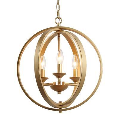 15.5 in. 3-Light Gold Adjustable Island Globe Candle Chandelier for Kitchen or Bathroom