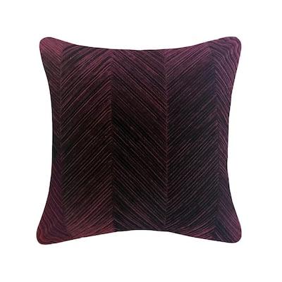 Aubergine Chevron Velvet 20 in. X 20 in. Throw Pillow