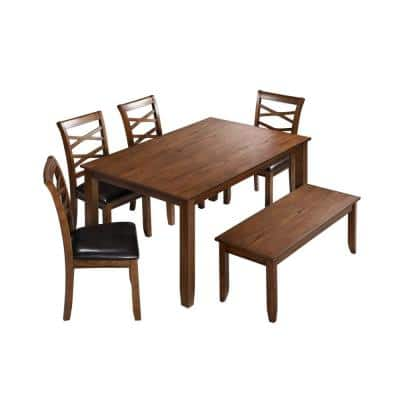 6 Piece Solid Wood Brown Dining Table Set, Kitchen Table Set with 4 Double X Cross Chairs and Bench