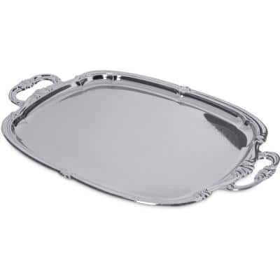 Celebration 20.87 in. x 13.5 in. Silver Carbon Steel Oval Tray with Integral Handle (12-Pack)