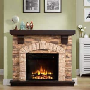 45 in. Freestanding Electric Fireplace in Tan