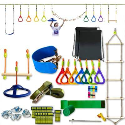 Ninja Obstacle Course, Ninja Slackline with Accessories Include Swing, Ladder, Gym Ring, Ninja Wheel (11-Pieces)